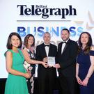 Press Eye - Belfast - Northern Ireland - 26th April 2018 - 2018 Belfast Telegraph Business Awards at the Crowne Plaza Gary Parkinson and Susan Hill from Novosco collected the Outstanding Business of the Year from Richard Donnan, Ulster Bank Head of Northern Ireland, Margaret Canning, Belfast Telegraph and Gail Walker Belfast Telegraph. Photo by Kelvin Boyes / Press Eye