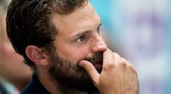 Northern Irish actor Jamie Dornan, during the Pancreatic Cancer charity NIPanC launch at the Mater Hospital in Belfast. PRESS ASSOCIATION Photo. Picture date: Wednesday August 1, 2018. Jamie is the new patron of the charity and spoke of the pain of losing his mother to the disease. See PA story ULSTER Cancer. Photo credit should read: Liam McBurney/PA Wire