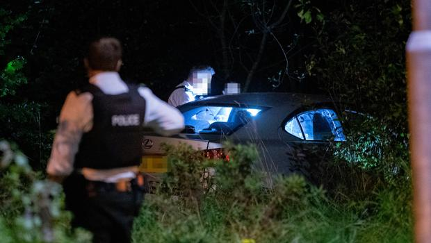 Police at the scene of a one vehicle RTC on the Cherry Road in Twinbrook on October 12, 2021 (Photo by Kevin Scott for Belfast Telegraph)