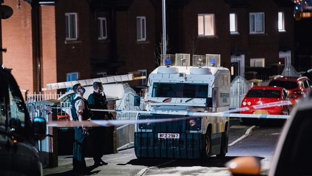 Police at the scene of a shooting incident in the Ballymurphy area of west Belfast on February 23rd 2021 (Photo by Kevin Scott for Belfast Telegraph)