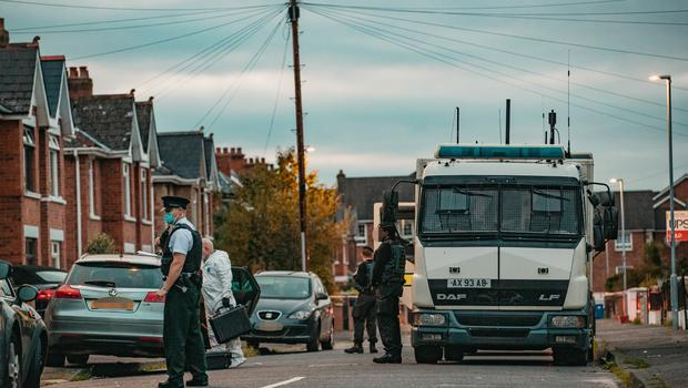 Police at the scene of a security alert on Orby Drive on October 13, 2021 (Photo by Kevin Scott for Belfast Telegraph)