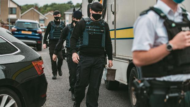 Police at the scene of a security alert in west Belfast on June 22, 2021 (Photo by Kevin Scott for Belfast Telegraph)