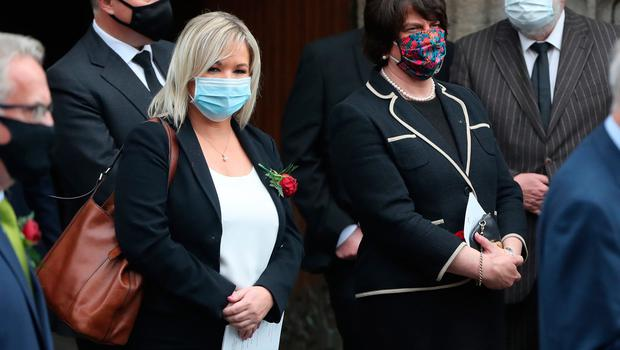 First Minister of Northern Ireland Arlene Foster (centre) and Deputy First Minister Michelle O'Neill (left) leave, following the funeral service of former SDLP leader John Hume, at St Eugene's Cathedral in Londonderry. PA Photo. Picture date: Wednesday August 5, 2020. Hume was a key architect of Northern Ireland's Good Friday Agreement and was awarded the Nobel Peace Prize for the pivotal role he played in ending the region's sectarian conflict. He died on Monday aged 83, having endured a long battle with dementia. See PA story FUNERAL Hume. Photo credit should read: Niall Carson/PA Wire